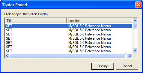 """Title: SET; Location: MySQL 5.0 Reference Manual"" - repeated seven times, with a scroll bar indicating many more lines"