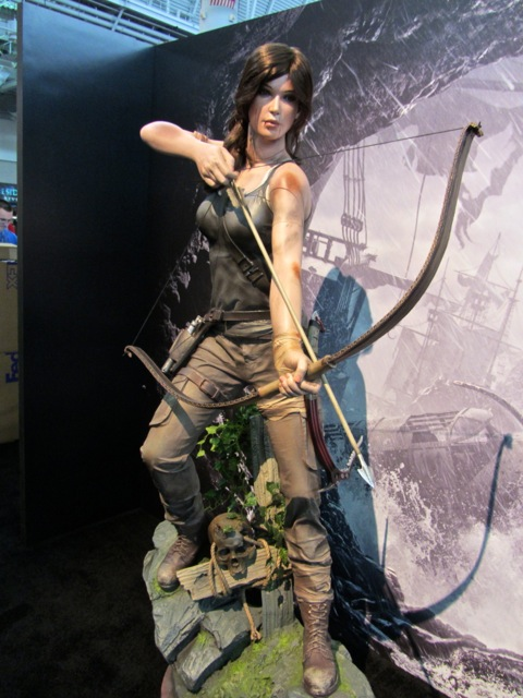 A life-size statue of Lara Croft