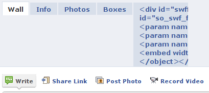 Facebook profile with a tab containing raw HTML code