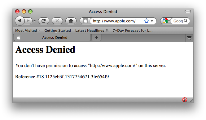 Apple's website returning a HTTP 403 Forbidden error